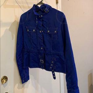 Blue nylon motto type jacket